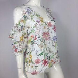 Parker Abby Blouse Floral Ruffle Silk Flowy